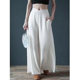Women Casual Cotton Back Elastic Waist Loose Wide Leg Pants with Side Pockets
