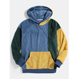 Mens Vintage Corduroy Color Block Stitching Kangaroo Pocket Hoodies