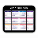 Calendar 2017 Mouse Mat Black Anti-Slip Computer PC Desktop Gaming Mouse Pad