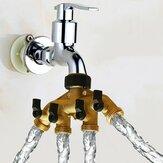 American Standard 3/4 Inch Latón de 4 vías Manguera Colector de grifos Segregador de agua Grifo de jardín Conector Válvula de corte de control del interruptor divisor
