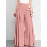 Женская однотонная молния с высокой талией, широкая штанина Брюки с карманом