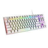 ZIYOULANG K16 لوحة مفاتيح الألعاب 87 مفتاحًا USB سلكي RGB بإضاءة خلفية بألوان قوس قزح ضد للماء لوحة مفاتيح ميكانيكية للمكتب المنزلي