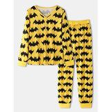 Halloween femmes allover dessin animé chauve-souris imprimé col en v à manches longues haut cordon de serrage pantalon de jogging maison pyjama ensemble