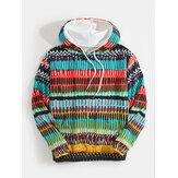Męskie bluzy z kapturem ze sznurkiem Colorful w stylu etnicznym z długim rękawem