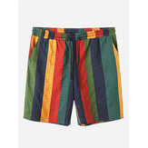 Mens Cotton Breathable Colorful Striped Drawstring Casual Shorts