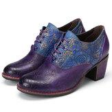 Kadın Deri Oxford için GRACOSY Deri Pompalar Elbise Ayakkabı Retro El Yapımı Çiçek Orta Topuk Ayakkabı