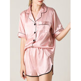 Frauen Colorful Striped Button Up Revere Kragen Tasche Home Ice Silk Pyjama Set