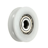 8Pcs 5x24x7mm U Notch Nylon Round Pulley Wheel Roller For 3.8mm Rope Ball Bearing