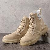 أحذية نسائية غير رسمية قماش سميك وحيد عالية برباط علوي أحذية قتالية