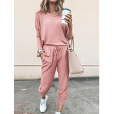 Women Daily Casual Home Solid Color Sweatshirt Sports Two-piece Set Pants Tracksuit