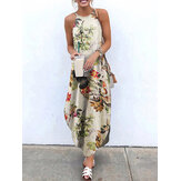 Women Sleeveless Straps Floral Print Cotton Irregular Hem Maxi Dress