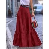 Однотонные плиссированные юбки с рюшами и боковыми карманами для Женское