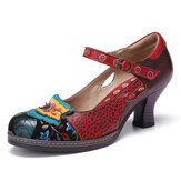 SOCOFY Vintage Leather Butterfly Splicing Cutouts Buckle Strap Chunky Heel Pumps