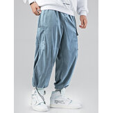 Mens Multi Pocket Drawstring Loose Adjustable Jogger Pants