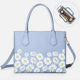 Women PU Leather Daisy Multifunction Multi-pocket 13.3 Inch Laptop Key Handbag Shoulder Bag