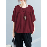 Women Half Sleeve Crew Neck Loose Blouses