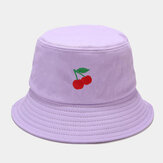 Women Summer UV Protection Fruit Pattern Embroidery Casual Cute Visor Sun Hat Bucket Hat