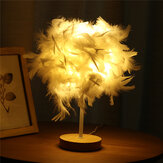 USB Moderno Branco Pena Sombra Lâmpada de mesa Abajur Elegante Mesa de cabeceira Night Light Home Bedroom Decor