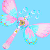 Electric Magic Wing Wand Automatic Soap Bubble Blowing Blower with Light Music Funny Novelties Toys For Kids Gifts