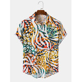 Mens Colorful Leopard Short Sleeve Casual Shirts