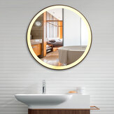 Tri-color Electrodeless Dimmable LED Lamp Round Wrought Iron Wall-mounted Bathroom Mirror