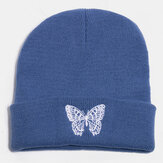 Unisex Wool Warm Elastic Casual Cartoon Butterfly Embroidery Pattern Knitted Hat Brimless Beanie