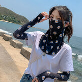 Women Sunscreen Outdoor UV Protection Ice Silk Sleeve Arm Guard Sleeve Cover Face Breathable Veil Mask