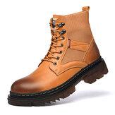 Herramientas de caña alta antideslizantes con punta redonda cómoda para hombre Botas