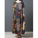 Women Crew Neck Floral Cotton Vintage Maxi Dress