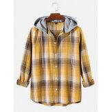 Męskie proste koszule w kratę ze sznurkiem z kapturem i długim rękawem