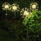 Solarbetriebene 8 modi 120 LED feuerwerk starburst string licht im freien wasserdichte lawnscape lampe dc3v