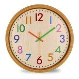 12 pulgadas de grano de madera creativo nórdico Colorful pared colgante de cuarzo silencioso Reloj para la decoración del hogar de la sala de estar