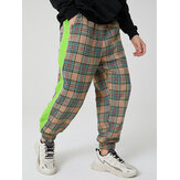 Mens Plaid Cotton Side Patchwork Drawstring  Elastic Waist Jogger Pants With Pocket