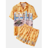 Mens Cartoon Surfboard & Tortoise Beach Landscape Print Two Piece Casual Outfits