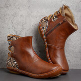 Large Size Women Retro Splicing Strap Round Toe Slip On Ankle Boots