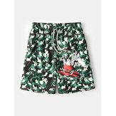 Pantalones cortos sueltos de secado rápido con cordón de malla con estampado animal de dibujos animados de camuflaje para hombre con bolsillo