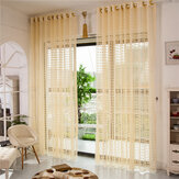 2 Panel Champagne Window Screening Hollow Out Bedroom Balcony Sheer Tulle Curtains
