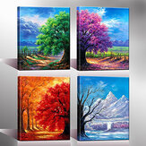 4Pcs Canvas Print Paintings Four Seasons Trees Oil Painting Wall Decorative Printing Art Picture Frameless Home Office Decoration