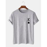 تي شيرت رجالي من King Of Spades Poker مطبوع 100٪ قطن بأكمام قصيرة