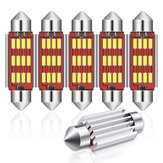 Audew 6PCS 42mm C5W 4014 SMD LED Festoon Dome Luci Licenza Piatto Lampadine 12V 2.7W 4882K Kit bianco