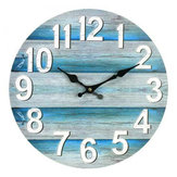 13 Inch Wall Clock Round Silent Vintage Beach Ocean Style Clock Home Room Decoration