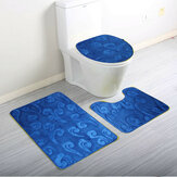Luxury Foot 3 Piece Toliet Seat Covers Small Bath Mat Set Pedestal Mats Seat Covers Set Anti Slip