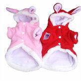 Natal roupas para animais Moda Cute Rabbit Plush Cachorro Vestuário Pet Hoodie Costume Winter Clothing