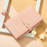 Women PU Leather Thin Solid Color Bifold Card Holder Wallet