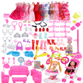 118 Pcs Plastic Radom Doll Clothes Hanging Skirt and Other Accessories Toy Set for Doll Gift