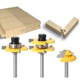 3Pcs 6mm 1/4 Shank Tongue & Grooving Joint Router Bit 45 Degree serratura Mitre Router Set Stock Wood Cutting