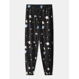 Mens Cartoon Galaxy Planet Print Pocket Drawstring Elastic Waist Home Jogger Pants