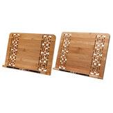 Estante de leitura de madeira Suporte para tablet Suporte de mesa de bambu Suporte de bandeja retro