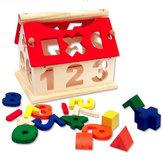 Nowy dzieciak Drewniany numer cyfrowy Dom Budowa zabawek Edukacyjne Intelektualne bloki
