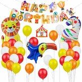 37 Uds Feliz cumpleaños Globo Set Circus Theme Animal Shape Ballon Set Fiesta de cumpleaños para niños Interior al aire libre Decoratrion